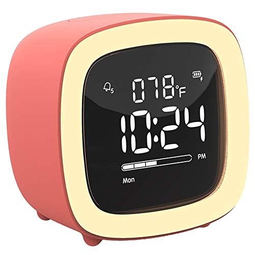 FOOSKOO Horloge de Bureau TV Veilleuse réveil for Les Enfants, Les Filles, Les Adolescents, Chambre, Chevet, Bureau, réveil numérique avec Batterie Rechargeable