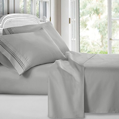 Clara Clark Premier 1800 Collection Deluxe Microfiber Three-Line Bed Sheet Set, Queen Size, Silver Light Gray
