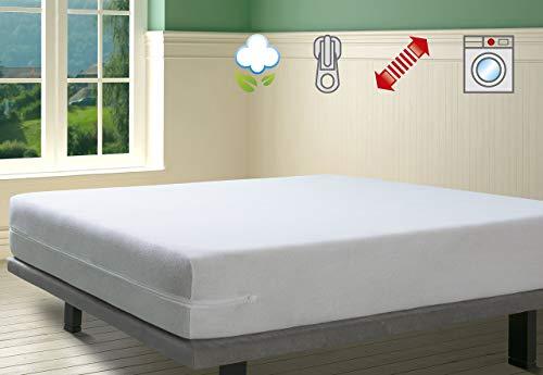 Savel - Funda de colchón elástica de Algodón | 150 x 190/200cm | Protector de...