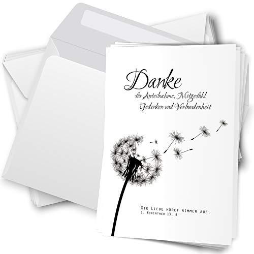 Trauer Danksagungskarten mit Umschlag | Motiv: Pusteblume, 10 Stück | Dankeskarten DIN A6 Set | Klappkarten-Trauerkarten Danksagung Danke sagen