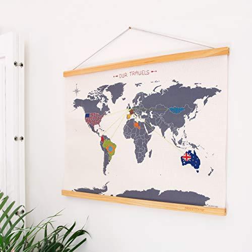 SUCK UK Wall Decor World Map | Travel Accessories | DIY Cross Stitch Kits | Embroidery Thread & Needle Included | Mapa de Punto de Cruz, poliéster, Gris, 1.80x59.20x44.00 cm