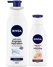 Nivea Express Hydration Body Lotion 400 ml & Nivea Extra Whitening Body Lotion 120 ml (Pack of 2)