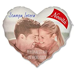 Idea Regalo - Cuscino Cuore Personalizzato con Foto - Bianco, Stampa Intera