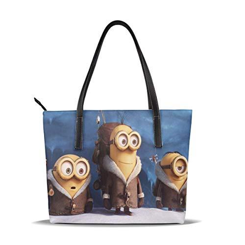 Mi-NI-ons Einkaufstasche Für Frauen Leder Reißverschluss Handtaschen, Große Kapazität Wasserdicht Langlebig Innen 1 Reißverschlusstasche Geeignet Für Geschäftsreisen Shopping Party