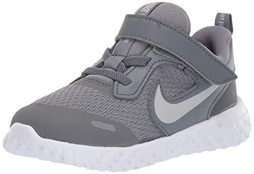 Nike Baby Revolution 5 Velcro Running Shoe, Cool Grey/Pure Platinum-Dark Grey, 7C Regular US Toddler