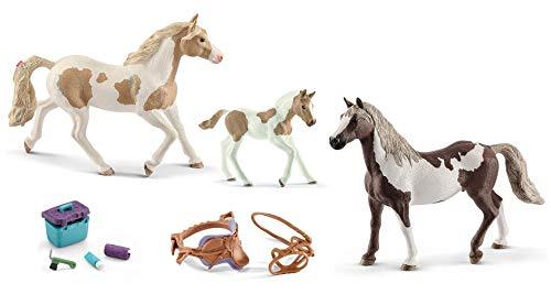 5in1-SET Schleich Pferde Horse Club - Paint Horse Familie + Sattel Zaumzeug und Pflegeset 13884 + 13885 + 13886 + 42165 + 42366