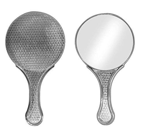 Leysin Round Shape Hand Mirror For Women Travel Use Silver Pack Of 1