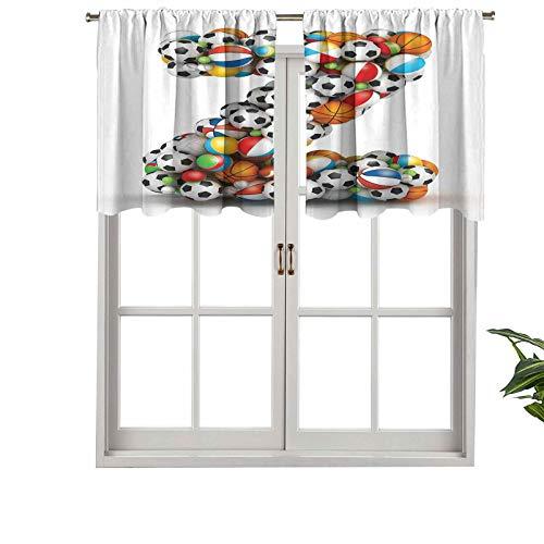 Hiiiman Cenefa opaca con bolsillo de barra de alta calidad, diferentes bolas que forman una letra Z, juego de 2, paneles opacos decorativos para el hogar de 137 x 61 cm para dormitorio