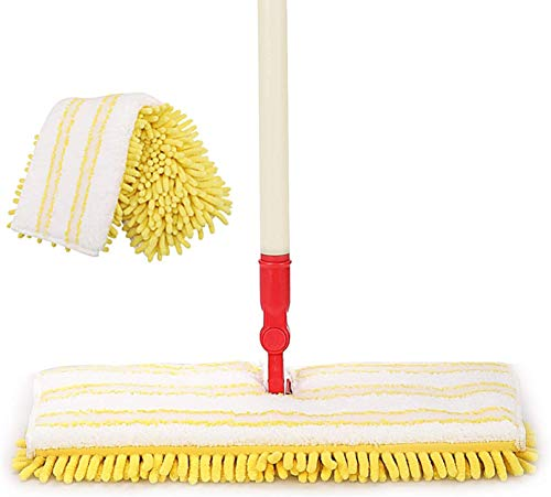 AKOMA Tile Mop for Floor Cleaning Microfiber Hardwood Floor Mop 360 Flip Dry and Wet Mopping with 2 Washable Mop Pads for Home,Office,Bathroom,Yellow