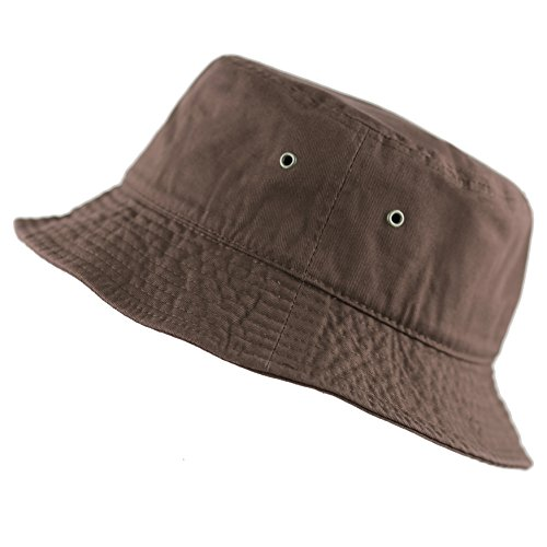 The Hat Depot 300N Unisex 100% Cotton Packable Summer Travel Bucket Hat (S/M, Brown)