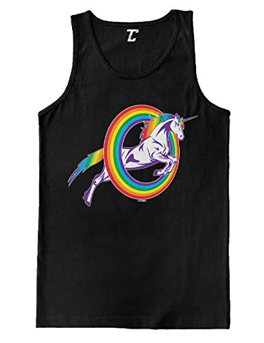 Unicorn Jumping Through Rainbow Men's Tank Top 3