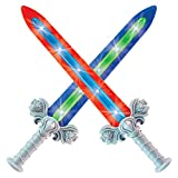 Geospace Geosword Soft and Safe Dueling Sword - 2 Pack with LED Lights & Movement Battle Sounds, Assorted Colors (Green or Red)