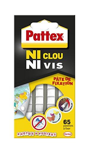 Pattex 2299500 Ni Nagel und Schrauben – Befestigungspaste – 65 Pastillen, weiß, Set mit 65 Stück