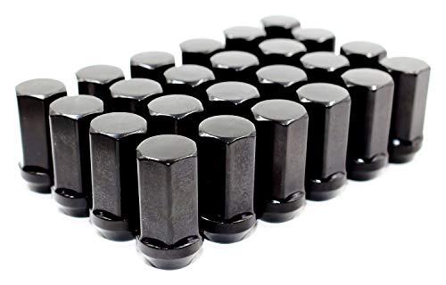Set of 24 Veritek 14x1.5mm 1.75 Inch 45mm Overall Length 7/8 22mm Hex Black Acorn Lug Nuts for Aftermarket Custom SUV Truck Wheels