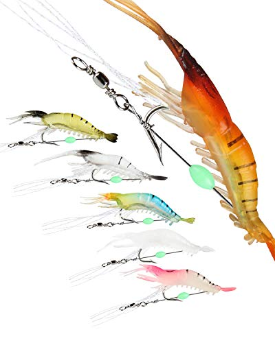 Soft Shrimp Fishing Lures Set Luminous Silicone Baits for Trout Bass Salmon, Freshwater/Saltwater - 6pcs