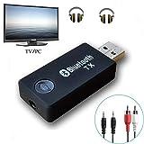 YETOR Bluetooth transmisor, 3,5 mm estéreo portátil inalámbrico de Audio Bluetooth Transmisor para televisor, iPod, mp3/mp4, USB Fuente de alimentación (tx9-2018)