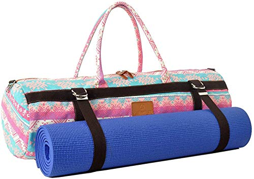 Borsa da yoga XL »Malati« di #DoYourYoga in 100% raffinata tela Canvas di cotone, lavorata con cura, per tappetini da yoga, pilates, palestra e ginnastica EXTRA SPESSI di dimensioni fino a 186 x 62 x 1,5 cm, aztechi fucsia.
