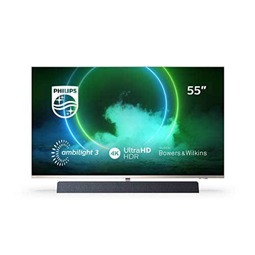 Philips Ambilight TV 55PUS9435/12 55-Zoll LED TV mit Sound von Bowers & Wilkins (P5 Perfect Picture Engine, 4K UHD, Dolby Vision∙Atmos, Android TV, HDR 10+, Sprachassistent) [2020/2021 Modell]