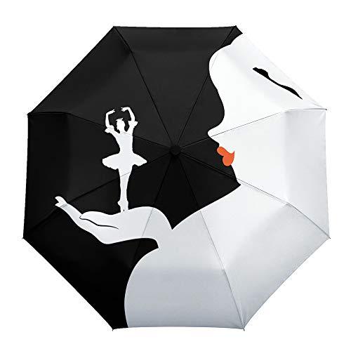Umberlla plegable de viaje, diseño de bailarín de ballet con labios rojos, apertura y cierre automático al aire libre, resistente al viento, para hombres, mujeres y niños