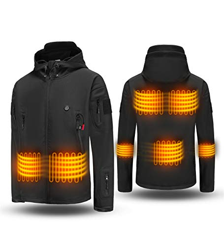 Heated Jacket ADITOMO Intelligent Heated Coats Soft Shell Heated Hoodie with 7 Heating Zones and...