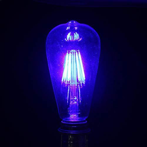 Edison Vintage Glühbirne E27 Retro Edison Birnen 6W Schraube Led Cob Birnen Rot/Grün/Blau Licht Lampe Energiesparend Ac220V Blau