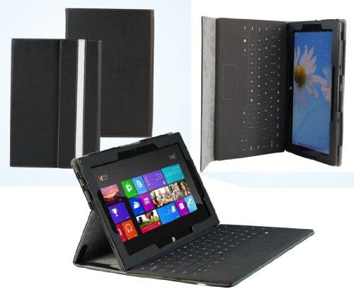 NAVITECH Custodia/Cover Nera in pelle Bycast per Microsoft Surface Pro 64GB / 128GB Window 8 (Non adatto al RT)