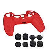 PlayStation 5 Controller Protective Case, Anti-Sweat and Anti-Slip Silicon Skin Case for PlayStation 5 Controller, with 8 Thumb Grips - Red