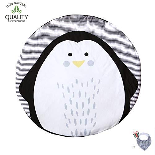 Krabbeldecke für Baby, Morbuy Kinder Schlafbereich Teppich Kuschelige Cartoon Spielmatte Runde Teppich Dekoration für Kinderzimmer Crawl Spielmatte Pinguin Muster