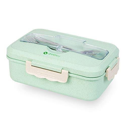 Greency Bento-Box mit 3 Fächern - Meal-Prep-Dose aus Weizenstroh (Bio-Kunststoff) - Robustes Edelstahl-Besteck - Stapelbar, auslaufsicher, für Mikrowelle, Spülmaschine & Gefriertruhe geeignet (Grün)