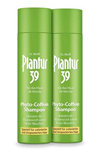 Plantur 39 Phyto-Coffein-Shampoo – speziell für coloriertes und strapaziertes Haar – Pflegeshampoo zur Vorbeugung vor menopausalem Haarausfall – 2 x 250 ml