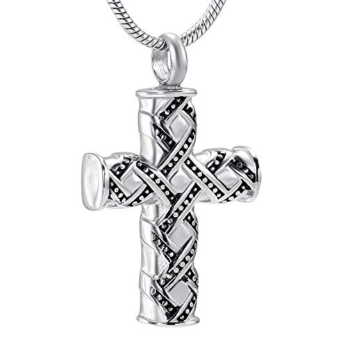OPPJB Ash Necklacesstainless Steel Urn Necklace Religious Men's Cross Cremation Pendant Memorial Small Box Souvenir Gift