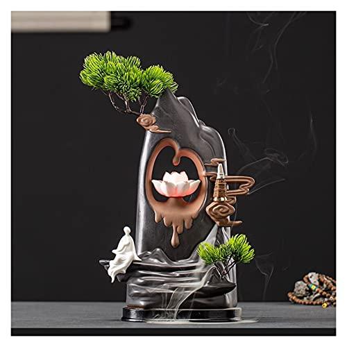 Candelabros Soporte de incienso de montaña Backflow Incienso quemador, cerámica hecha a mano cono de cono de loto de loto para el hogar Zen antiguo aromaterapia estufa decoración Candelabro decorativo