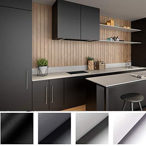 Kinlo - Lámina adhesiva decorativa de PVC, 5 x 0,61 m, color blanco, gruesa, autoadhesiva, resistente al agua, embellece muebles sin brillo, pvc, Negro, 5M