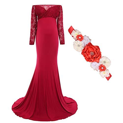 FYMNSI Vestido de mujer con flores de aguja, vestido de maternidad, vestido largo de noche, boda, para sesiones de foto, moda B: rojo. M