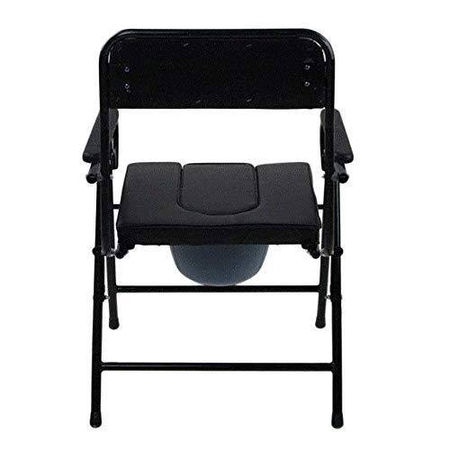 JJYP Silla apilable de acero de altura fija con cacerola, inodoro de cabecera para ancianos y discapacitados, uso cómodo en casa, clínica, rehabilitación