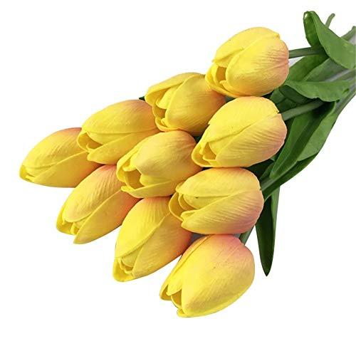 10 Piezas De Flores Artificiales De Tulipán Ramo De Flores De Toque Real Ramo De Flores Falsas Ramo De Novia Decoración del Hogar For La Boda Flor artificia (Color : C)