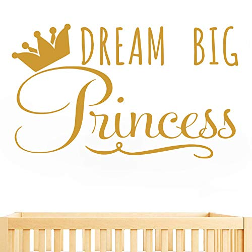 JUEKUI Dream Big Princess with Crown Wall Decal Removable Vinyl Sticker for Girls Nursery Home Decor Mural WS30 Gold