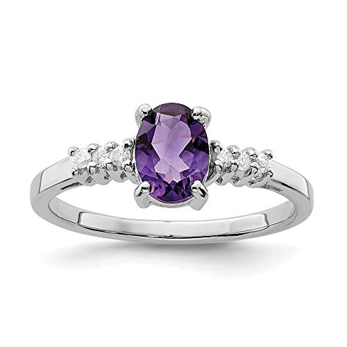 925 Sterling Silver Purple Amethyst Diamond Band Ring Size 8.00 Stone Gemstone Fine Jewelry For...
