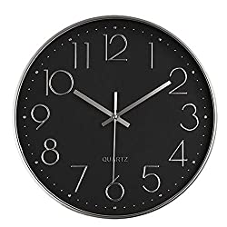 HZDHCLH 12 Inch Modern Wall Clock Silent Non-Ticking Quartz Sweep Decorative Battery Operated Plastic Frame Glass Cover Wall Clocks for Home Living Room Office School (Black-Silver)