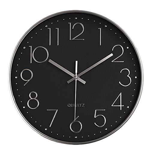 HZDHCLH 30cm Modern Quartz Lautlos Wanduhr Schleichende Sekunde mit Arabisch Ziffer ohne Ticken für Dekoration Wohnzimmer, Küche, Büro, Schlafzimmer (Silber-schwarz)