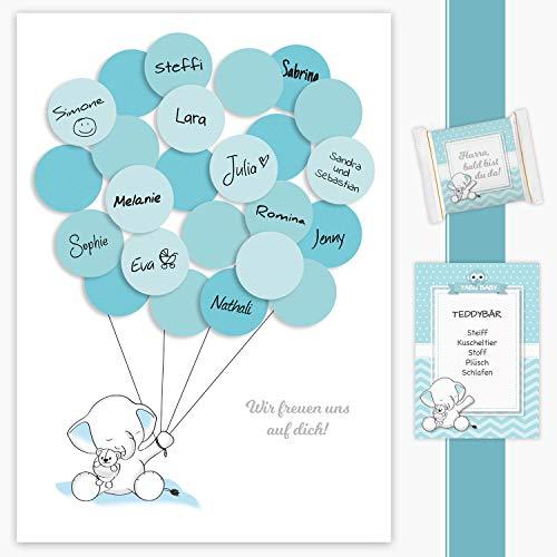Babyparty Gästebuch, Baby Shower Geschenk Elefant junge in blau Deko, Babyshower Dekoration, Andenken, Idee, Erinnerungsstück, Pullerparty, Schnullerparty, Pinkelparty, Fingerabdruck, Gastgeschenk