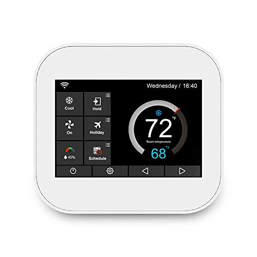 Touchscreen Smart Wifi Modbus 7days Programmable Thermostat MC6-U With Humidifier/Dehumidifier Control, Compatible with Alexa, White (Renewed)