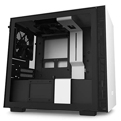 Nzxt H210 - Case da Gioco per PC Mini-Itx - Porta Tipo C USB I/O Frontale - Pannello Laterale in Vetro Temperato - Compatibile con il Raffreddamento a Liquido - Staffa per il Radiatore, Bianco/Nero