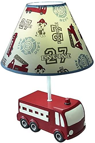 Lámpara de mesa de camiones para bomberos Habitación para niños Habitación Lámpara de noche Boy Dibujos animados Cumpleaños Lámpara de mesa Luz de escritorio LJMYQL