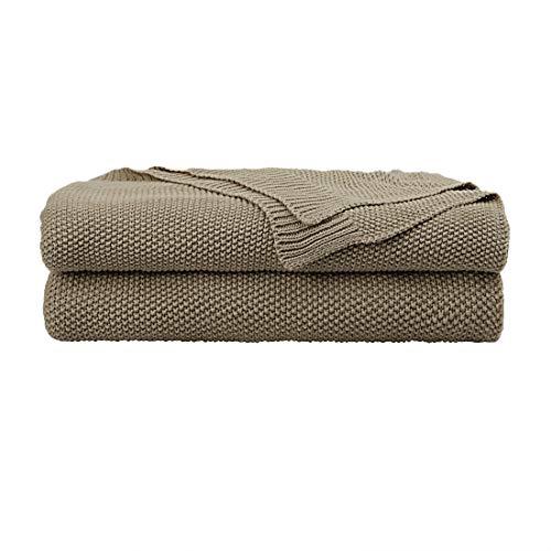 PiccoCasa Tagesdecke Baumwolle Strickdecke Sommerdecke leicht zu pflegen ges& als Sofadecke Sofaüberwurf für Fernsehen oder Lesen usw. Khaki 150x200cm