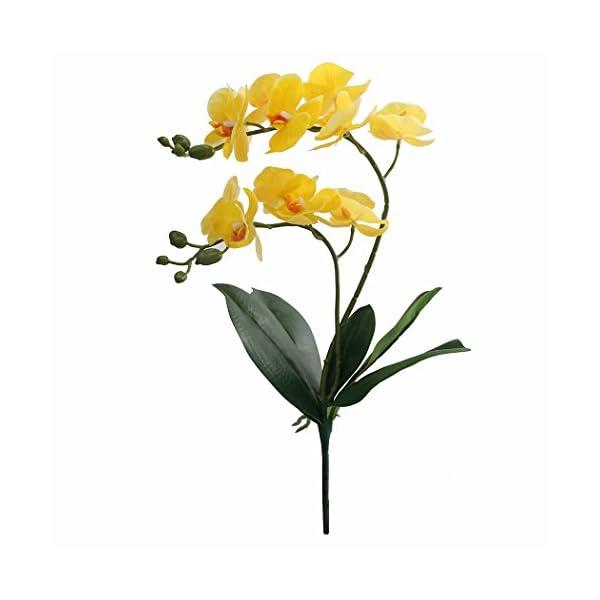 JAROWN Flores artificiales de orquídeas Phaleanopsis, ramas de hojas para decoración del hogar, bonsái, jardín (amarillo…