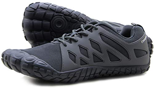 Oranginer Men's Barefoot Shoes Lightweight Athletic Trail Running Shoes Men Gray Size 10
