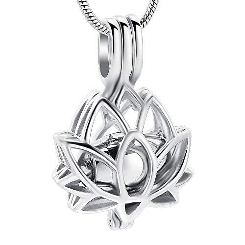 Colar com pingente de urna de joia cremosa com urna vazada para cinzas, formato de flor de lótus