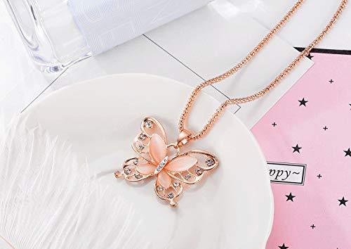 jieGorge Collares y colgantes, Las mujeres señora oro rosa ópalo mariposa colgante collar suéter cadena, joyería para mujeres regalos (como se muestra)