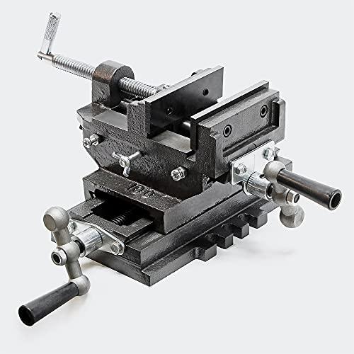 WilTec Étau de Machine 2 Axes 100mm Étau pour Table croisée Table de fraisage ou Bien Établi